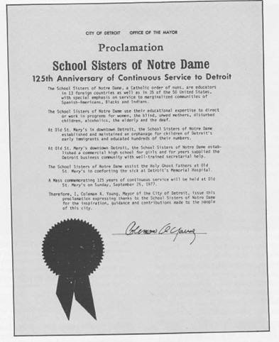 Proclamation for School Sisters of Notre Dame